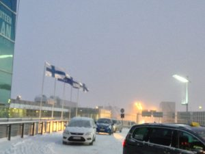 Snowing in Helsinki Airport
